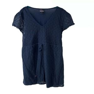 Navy Blue Lace Front Short Sleeve Maternity Top M
